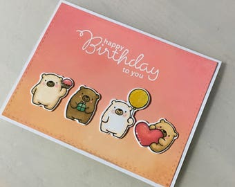 Birthday card, hand made, cute bears, pink, orenge, happy, folding card, alcoholic markers , distress oxide