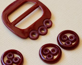 Maroon Synthetic Polymer Buckle and Three Buttons