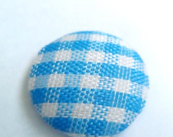 Blue gingham fabric cabochon 14mm