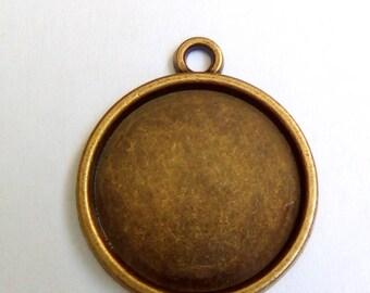 5 pendants round cabochons 16mm bronze metal