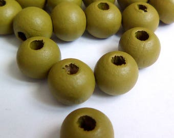 35 nipple 8mm olive green round wood beads