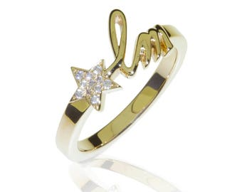 Initial Letters Ring - 18K Yellow Gold