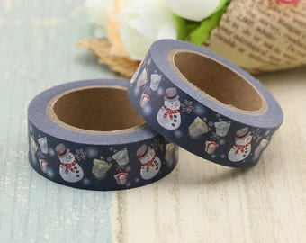 Washi Tape - Decorative Tape - Paper Tape - Planner Tape - Christmas Washi Tape -Snowman Washi - Deco Paper Tape - Planner Washi