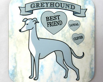 Greyhound Dog Coaster, Drinks Coaster, Greyhound Owner Gift.