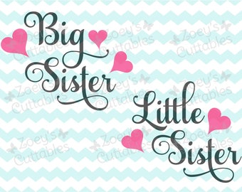 Big Sister Little Sister Swirl Hearts - Cuttable SVG File - Instant Download