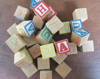 Alphabet Blocks Vintage Wooden Letter Blocks Craft Supply