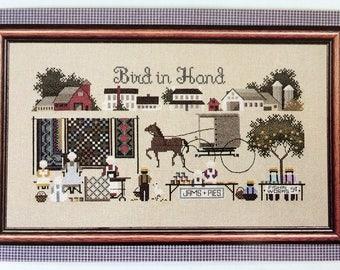 Bird In Hand - vintage cross stitch chart - Amish Village- by Marilyn Leavitt-Imblum