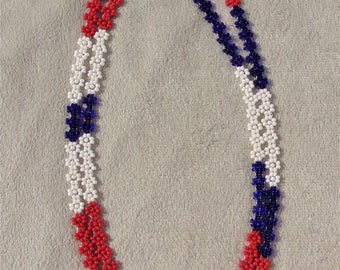 Native Lakota Sioux - Beaded Daisy Chain Necklace -  Red, white, blue seed beads [TH-37]