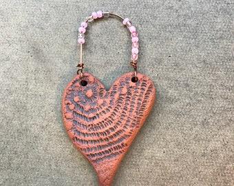 heart hanger-heart ornament-handmade ceramic-rustic home decor-garden decor