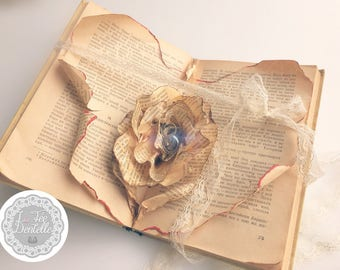"""Ring pillow """"rose carved in a book"""""""