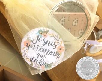Miroir de poche témoin qui déchire cadeau mariage