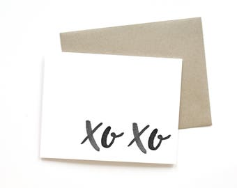 XO XO | Card || Greeting Card | Love Card | Anniversary Card | Hugs and Kisses | Wedding Card | Handlettered Card | Valentine Card | Simple