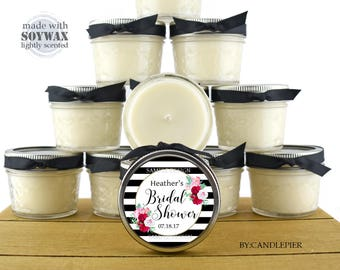 12 ct Black and white stripes with flowers, 4 oz personalized soy candles, bridal shower favors, wedding favors, bridesmaid gifts