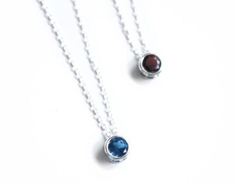 5mm sterling silver birthstone necklace
