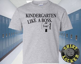 NEW Funny Kindergarten Like A Boss Youth Tee Shirt Design Great Quality Toddler School