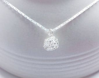 Twist flower ball Necklace in Solid Sterling 925 Silver (SN003)