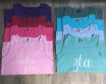 Customizable Sorority Letter Shirt // Sorority Shirts // Chapter Affliation Tee // Comfort Colors Greek Tank