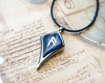 Ansus Rune. Viking Rune Necklace. Rune Pendant. Norse Jewelry.Ansuz.Pewter Necklace. Ansus- inspiration,the power of words, information