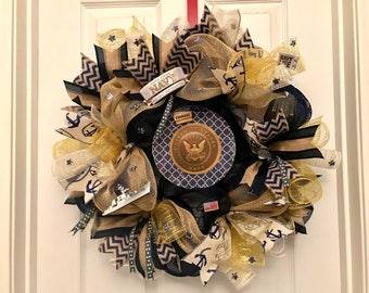 NAVY Wreath, US Navy Wreath, Military Wreath, Fourth of July wreath, Veterans Wreath, Memorial Wreath, Patriotic Wreath, soldier wreath