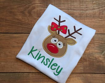 Girls reindeer Christmas shirt, personalized christmas shirt, girl reindeer christmas shirt, girl reindeer shirt with name, girls christmas