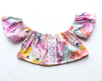 Baby Crop Top, Baby Boho Outfit, Girls Crop Top, Baby Spring Outfit, Toddler Spring Outfit, Toddler Off the Shoulder Top, Baby Floral