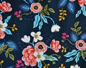 Cotton + Steel Rayon Fabric - Birch Navy - Rifle Paper Co - Blue Red Floral Rayon Challis - Fabric by the Yard - 8008-25
