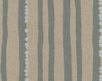 Japanese Cotton Linen Fabric - Kokka Echino 2018 Stripe in Gray - Light Weight Metallic Canvas Fabric - Half Yard (about 50cm) Pre Cut