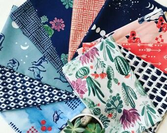 Organic Cotton Fabric Bundle - Monaluna Journey - Lawn & Poplin Fabric - 11 main prints + 1 coordinate - Eco Friendly - 100% GOTS Certified