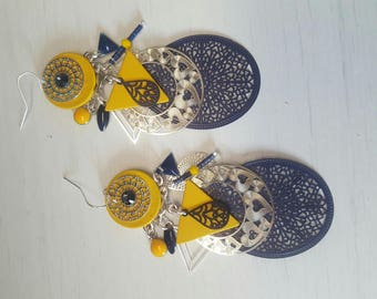 Earrings dangling mustard yellow and blue