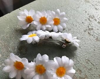 Daisy flower hair clip barrette artificial flower foam daisy hair accessory spring summer tropical destination wedding hair