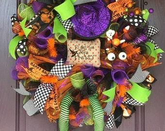 Halloween Wreath, Halloween Decor, Fall Decor, Halloween Swag Wreath, Door Wreath
