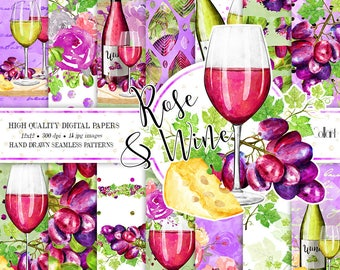 Wine paper pack, Valentine Paper Pack, Night's Out Illustrations, Culinary Paper Pack, Seamless Watercolor Paper, cooking paper pack