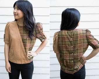 Vintage Japanese Plaid Blouse // Poof Sleeve Button Down Back