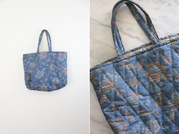 Vintage Indigo and Orange Large Quilted Floral Tote Bag // : quilted floral tote bags - Adamdwight.com