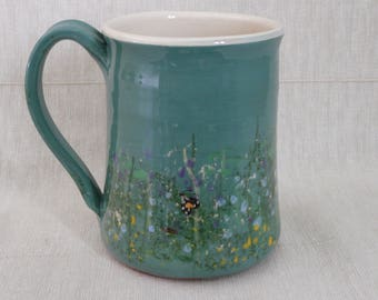 Pottery mug. Moth mug. Meadow flowers mug. Coffee mug. Tea mug.