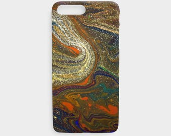 Abstract Art Neutral Earth Tones Phone Case, Colorful Glitter, Unique Protective Phone Case for the Apple iPhone and Samsung Galaxy Devices