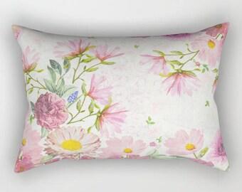 Floral Rectangular Pillow, Flower Throw Pillow, Floral Pillows, Floral Bed Pillow, Floral Accent Pillows, Botanical Pillow, Dorm Pillows