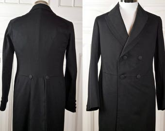 Austrian Vintage Edwardian Frock Coat, Black Wool Double-Breasted Prince Albert Frock Coat, Teddy Boy Coat, Steampunk Coat: Size 34 US/UK