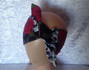 Handmade Black And Red Skull And Rose Headband