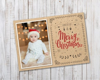 Rustic Christmas Cards Photo Printable / Christmas Cards Rustic Season Greetings Digital Template  - Design ID: 34-22A
