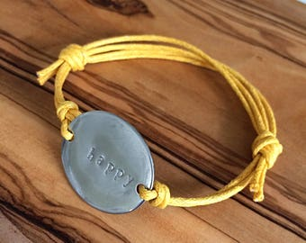 STAINLESS Steel Stamped ID BRACELET - Hand Stamped Custom Personalized - Medical Bracelet - Women Stamped Jewellery - Happy -Adjustable Cord