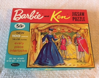 Vintage Barbie and Ken Jigsaw Puzzle 1964 Whitman Royal Queen Court