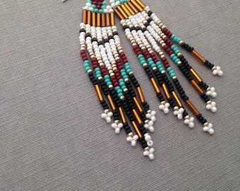 BURGUNDY // TURQUOISE beaded earrings