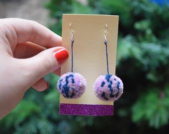 Mauve Multi Coloured Pom Pom Earrings