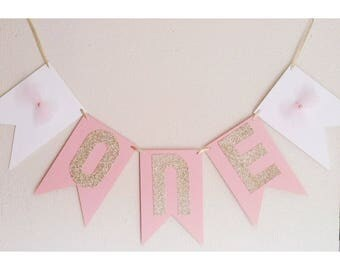 Pink Birthday Banner, Pink Banner, Pink and Gold, Gold First Birthday