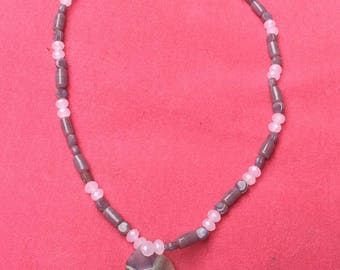 Crystal and ceramic beaded necklace