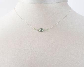 Green amethyst and 925 sterling silver chain necklace