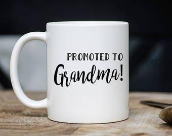 Cute Grandmother Mug -  Promoted To Grandma Coffee & Tea Mug - Best Grandparent And Grandchild Teacup Gift - 11oz Ceramic Parenting Cup