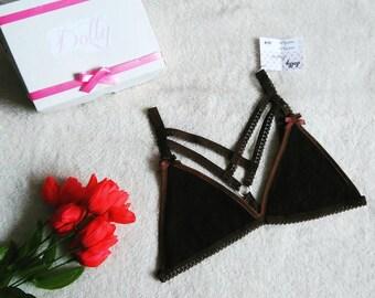 Bralette, Harness, lingerie, underwear, brown.