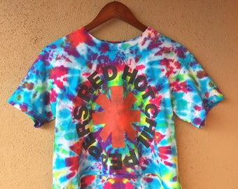 Vintage Red Hot Chili Peppers Tye Dye Crop Band Tee